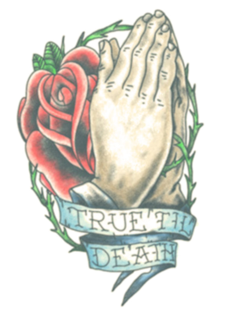 Praying Hands With Rose Tattoo