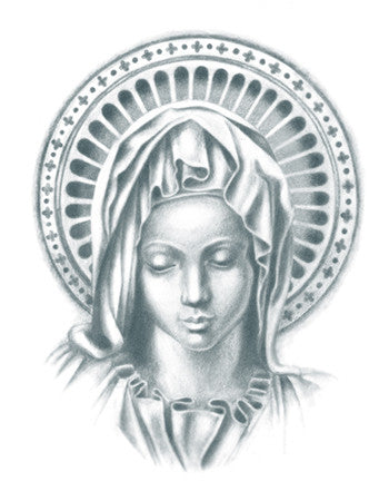 Realistic Virgin Mary Tattoo