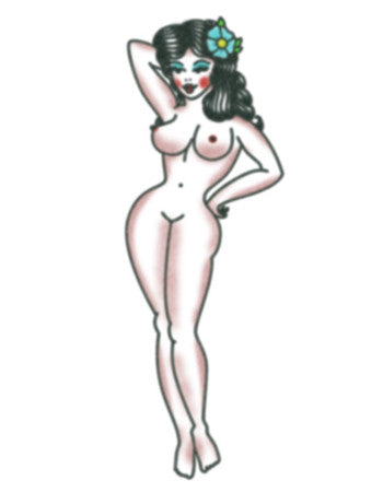 Pin-up girl temporary tattoo