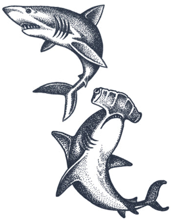 Great White Shark And Hammerhead Shark Tattoo
