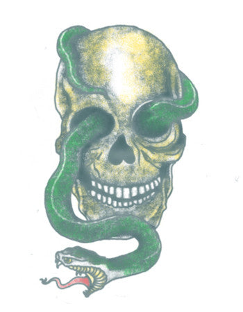 skull and snake temporary tattoo