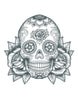 Sugar Skull With Roses BW