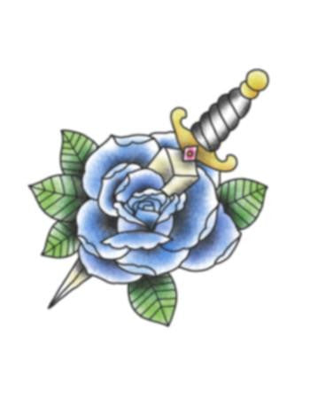 blue rose and dagger tattoo design, blue rose and dagger temporary tattoo