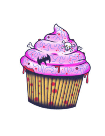 Brain cupcake temporary tattoo