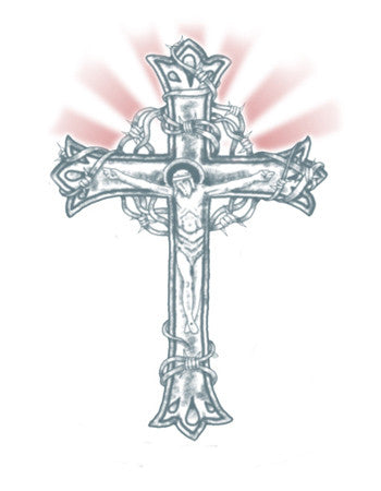 Cross with Jesus temporary tattoo