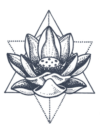 Dotwork Lotus Flower Tattoo