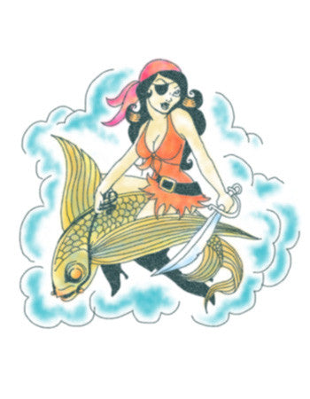 pirate girl temporary tattoo