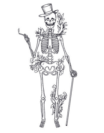 dandy skeleton temporary tattoo
