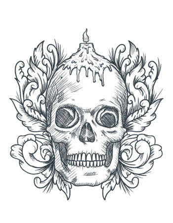 Skull candle temporary tattoo