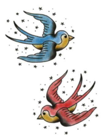 traditional swallows temporary tattoo, blue and red swallow with stars tattoo design,
