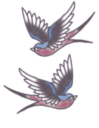 Vintage Red/Blue Swallows