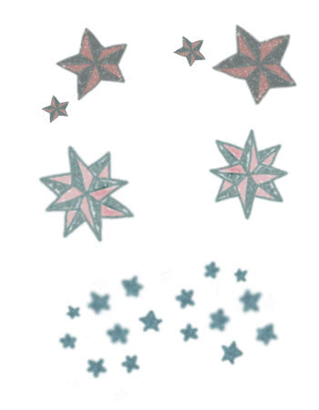 traditional stars temporary tattoo