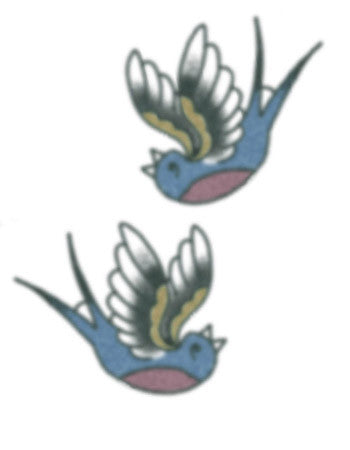 Vintage  Blue Swallows