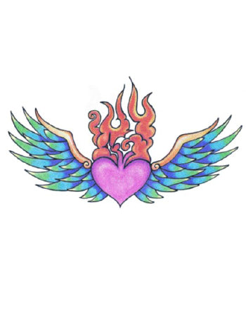 Winged Fiery Heart