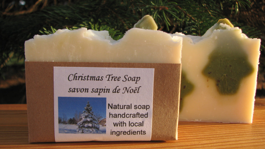 Christmas Tree Soap shows two fir trees buried in snow
