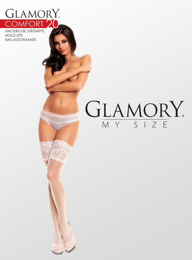 Glamory COMFORT 20 Hold Ups Plus Size (Rich Lace Top)G-50115