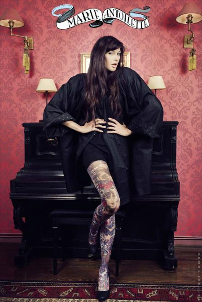 Marie Antoilette French Hosiery Line Printed Tights - Starts with Legs