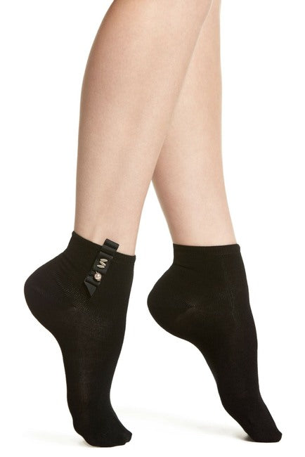 Oroblu ABSTRACT PEARL COTTON Womens Socks (Bow & Pearl Glamour)