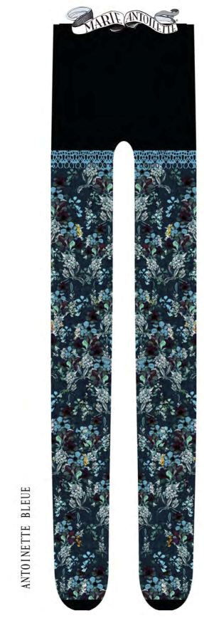 Marie Antoilette ANTOINETTE BLEUE Printed Tights (Luxury French Hosiery)
