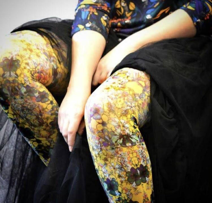 ANTOINETTE JAUNE Printed Tights (Luxury French Hosiery)