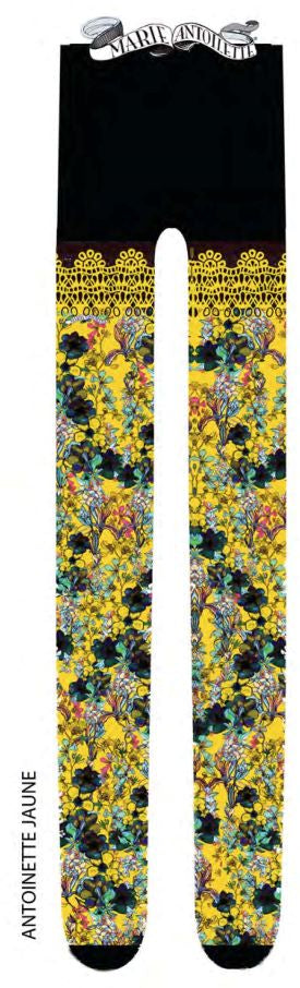 Marie Antoilette ANTOINETTE JAUNE Printed Tights (Luxury French Hosiery)