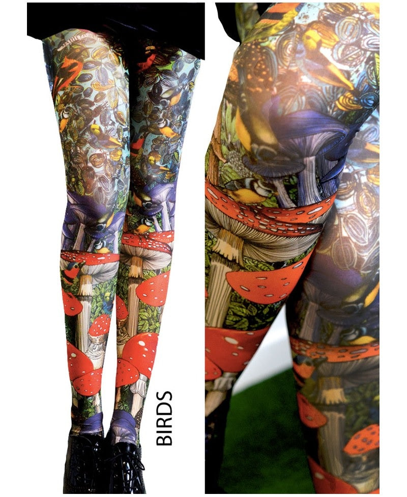 17df30335395a Marie Antoilette BIRDS Printed Tights (Luxury French Hosiery)