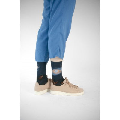 Bonne Maison NIGHT FENNEC Cotton Unisex Socks (Navy & Warm Motifs)
