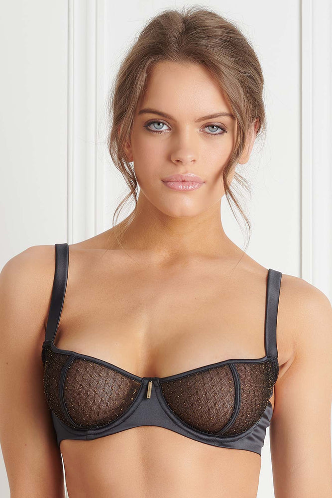 Maison Close SAGE DECISION WIRE BRA  (Gold Dotted Mesh)