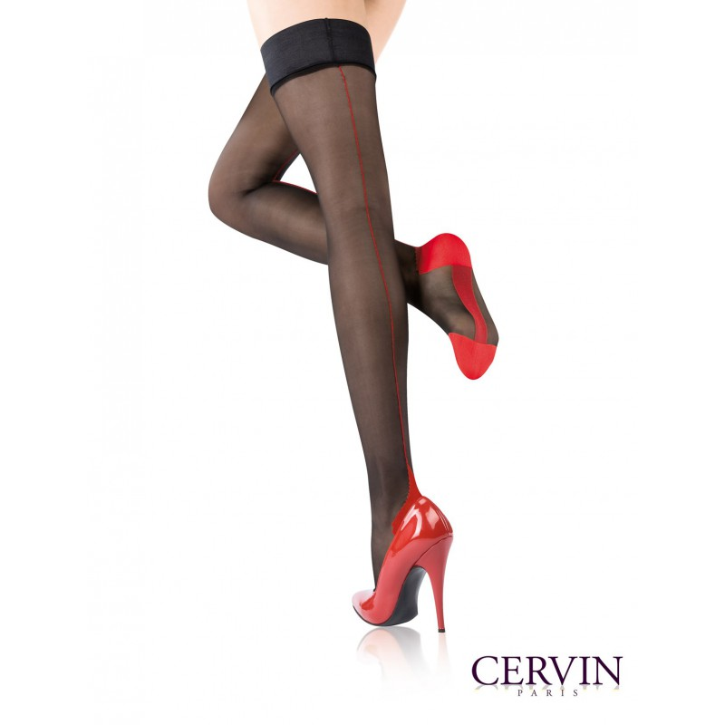 Cervin AGNES BLACK & BLUE SEAM Stay Ups/Hold Ups Plus Size Available