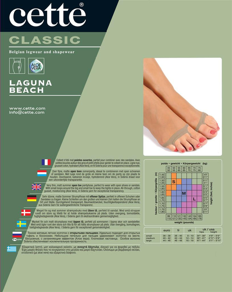 Cette LAGUNA BEACH Pantyhose/Tight Open Toe (Premium Belgium Hosiery)