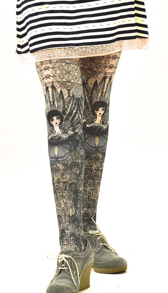Colette Printed Tights - Marie Antoilette Hosiery and Starts with Legs