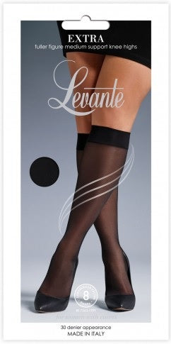 Levante Extra (Plus Size) Sheer Medium Support Knee High Italian Hosiery  - Starts with Legs
