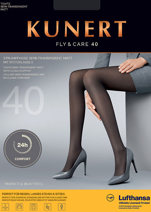 Kunert German Hosiery Fly & Care 40 Denier Pantyhose/Tights 11-14mm hg Medical Compression 4 Colours - Starts with Legs