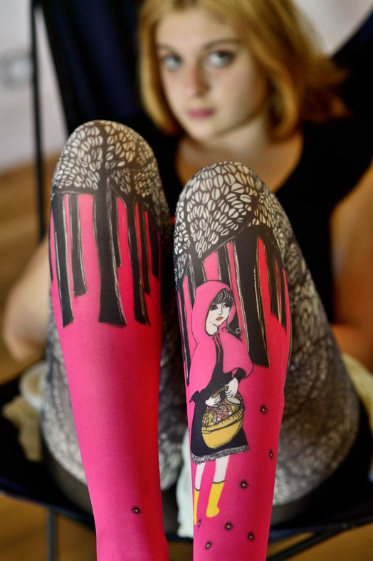 Marie Antoilette LE PETIT CHAPERON Printed Tights  (Luxury French Hosiery)