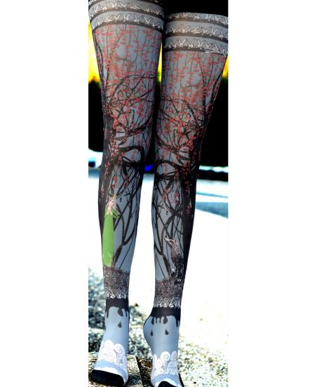 Marie Antoilette LOUP Y TES T Printed Tights (Luxury French Hosiery)