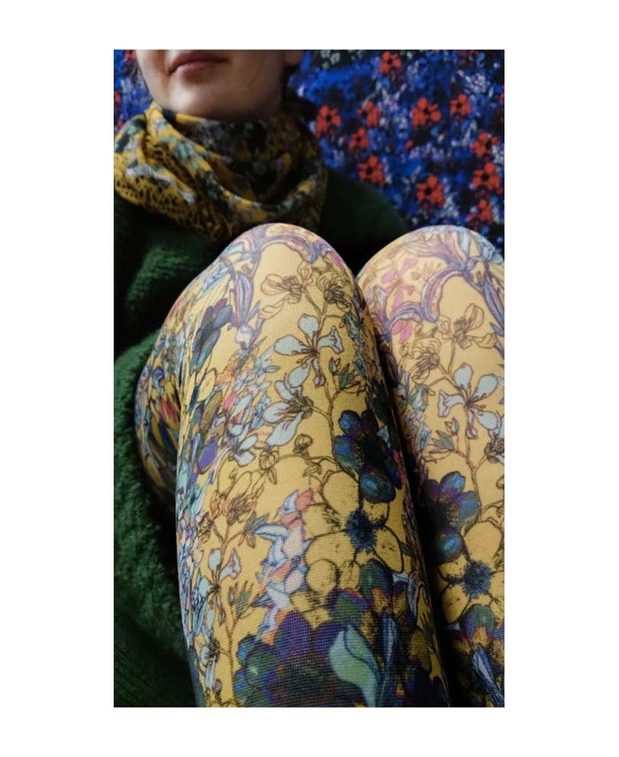 Marie Antoilette French Hosiery Antoinette Jaune Printed Tights -Starts with Legs