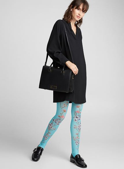 Marie Antoilette MARIETTE BLEUE Printed Tights/Pantyhose (Luxury French Hosiery)