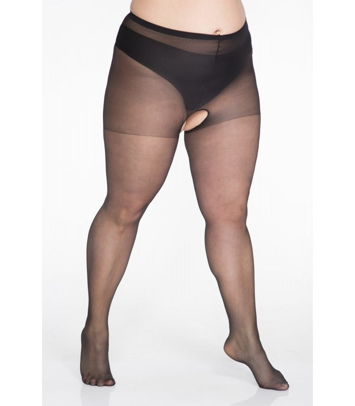 Open Crutch Fishnet Tights Plus size - Lida Hosiery 135 and Starts with Legs