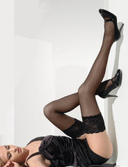 Paris Stay Ups/Hold Ups Black/Tendresse (Plus Size) - Cette Hosiery