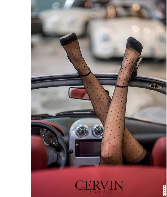 Cervin French Hosiery Capri Plumetis Stockings  -  Starts with Legs