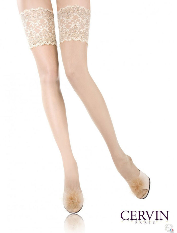 Rive Gauche 100% Silk Stay Ups/Hold Ups (available in Plus Size) - Cervin Hosiery