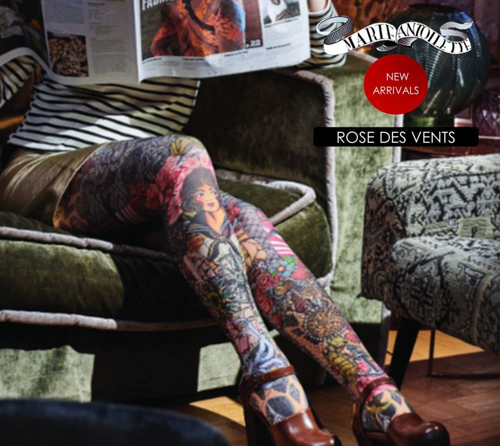 Marie Antoilette ROSE DES VENTS Printed Tights (Luxury French Hosiery)
