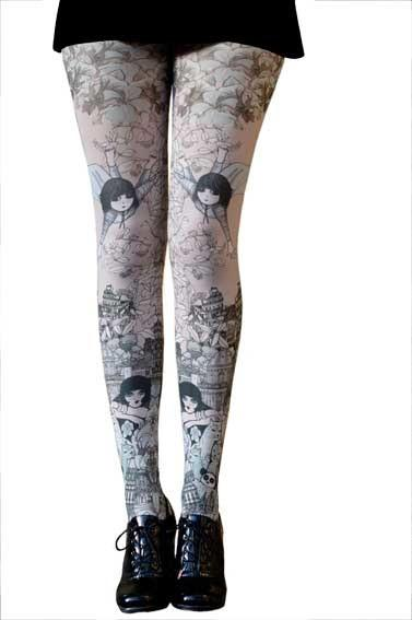 Marie Antoilette SOPHIE Printed Tights (French Luxury Hosiery) Size O for children