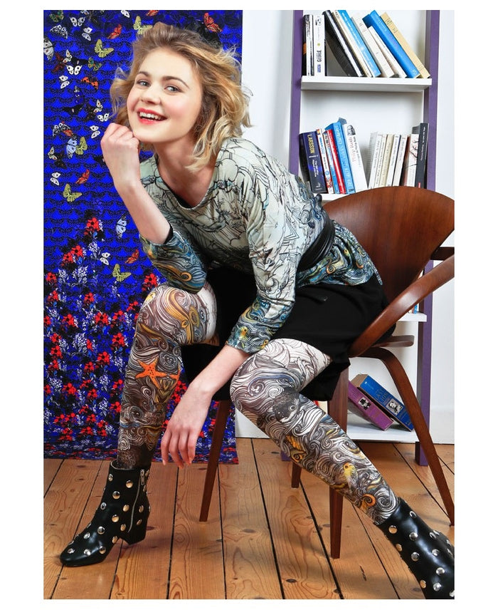 Marie Antoilette French Hosiery  Sous Le Vent Printed Tights - Starts with Legs