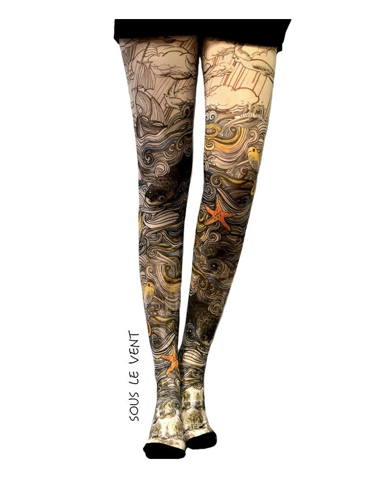Marie Antoilette SOUS LE VENT Printed Tights (Luxury French Hosiery)