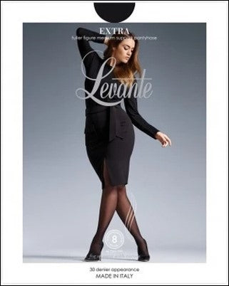 Levante Extra (Plus Size) Medium Support Fuller Figure 30 Den Pantyhose/Tights  - Starts with Legs