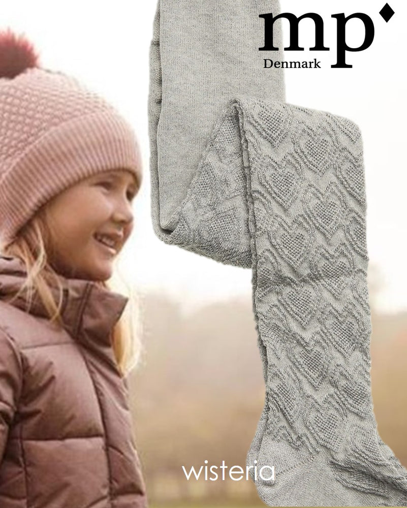 MP Denmark Childrens WISTERIA COTTON  Tights (Grey Love Heart Pattern!!) 37046