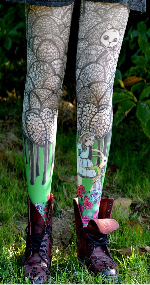 Alice Printed Tights - Marie Antoilette Hosiery and Starts with Legs