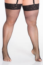 Lida Plus Size Suspender Fishnet Stockings with LACE (133)