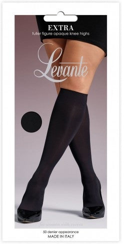 6d1c4a68a83 Levante Italian Hosiery Extra (Plus Size) Knee Highs Opaque Plus Size -  Starts with